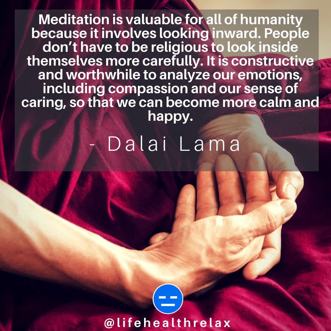 [Image] Meditation is valuable for all of humanity because it involves looking inward. People don't have to be religious to look inside themselves more carefully. It is constructive and worthwhile to analyze our emotions, including compassion and our sense of caring, so that we can become more …