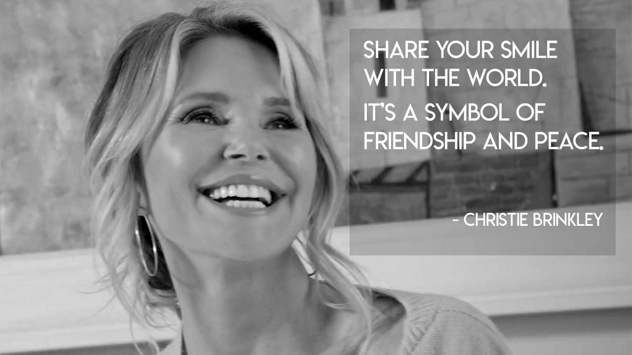 """Share your smile with the world. It's a symbol of friendship and peace."" – Christie Brinkley [1280×720] [OC]"