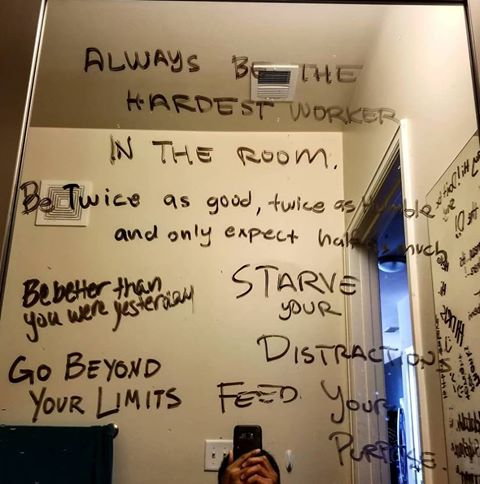 [Image] One of my good friends asks people to write motivational quotes on his mirror