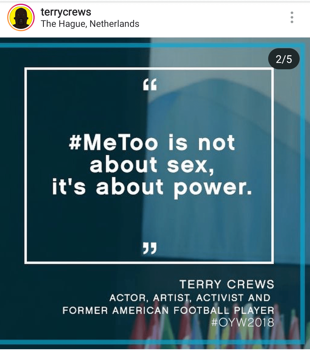 #MeToo is not about sex, it's about power. – Terry Crews [1075×1223]