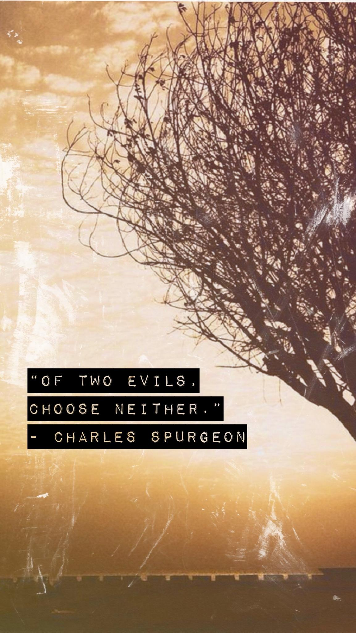 """Of Two Evils, Choose Neither."" – Charles Spurgeon [1153 x 2048]"