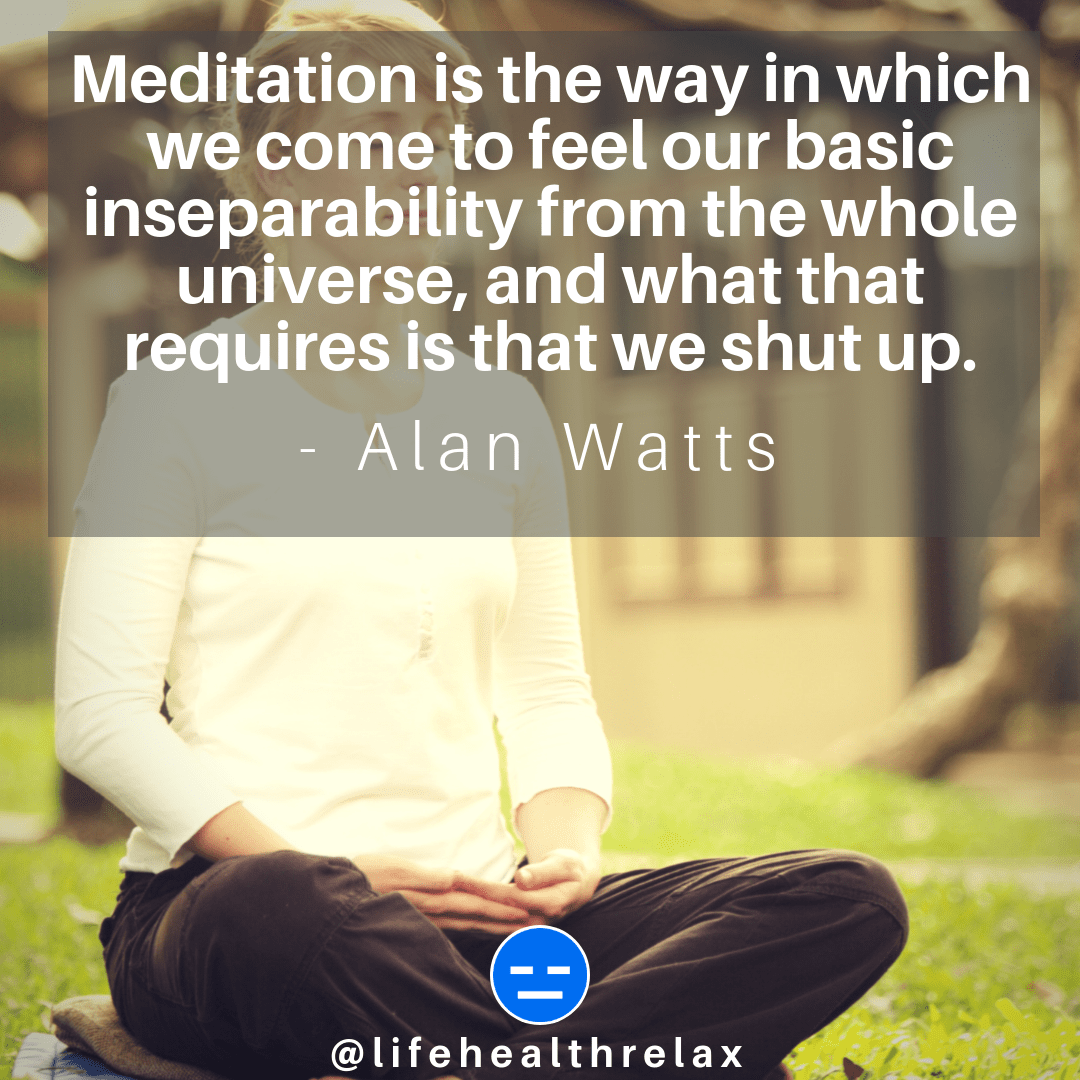 [Image] Meditation is the way in which we come to feel our basic inseparability from the whole universe, and what that requires is that we shut up. – Alan Watts