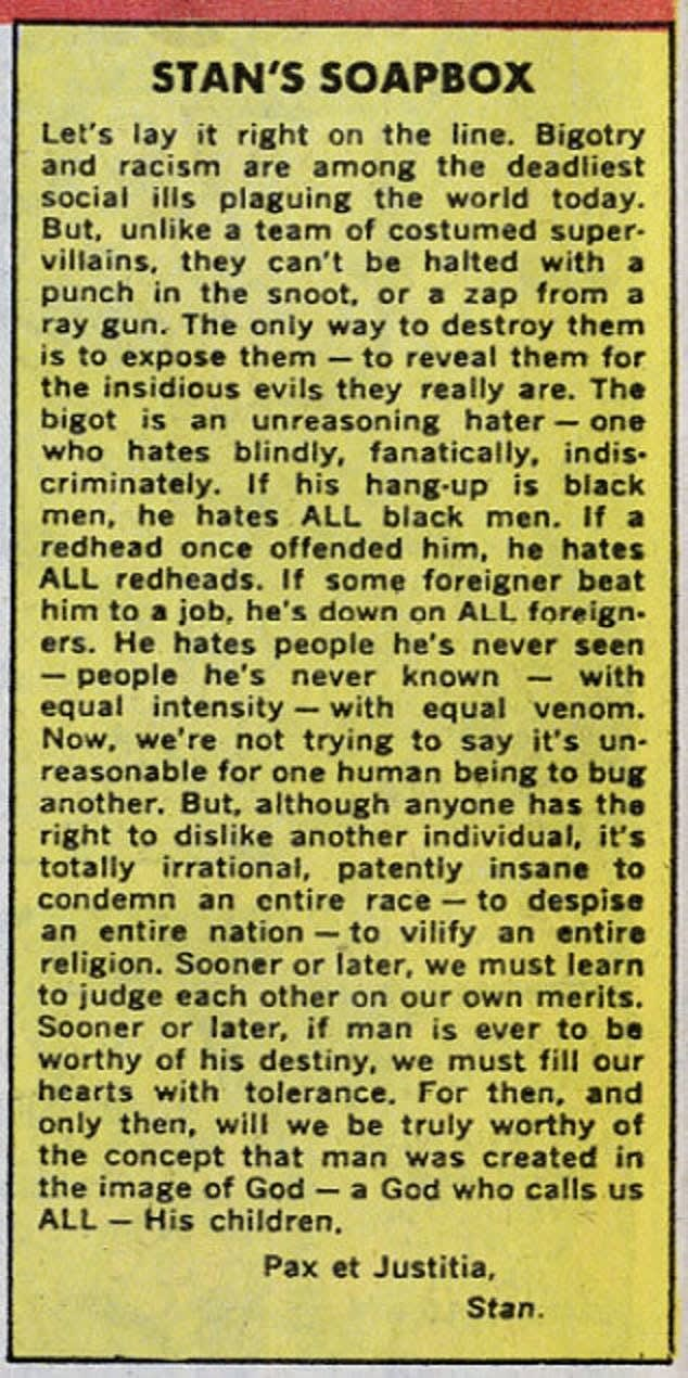 Stan Lee on racism [634×1270]
