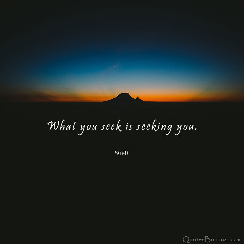 """What You Seek is Seeking You"". Rumi [800×800]"