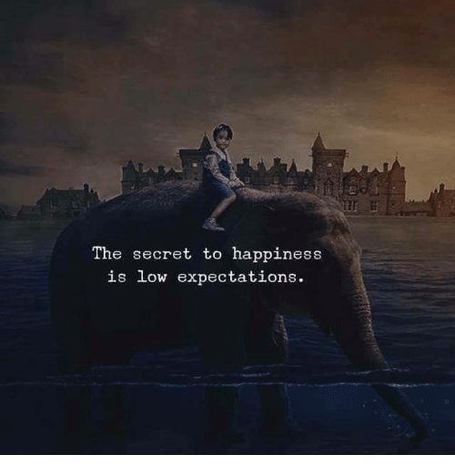 The secret to happiness is low expectations. – Anonymous [500×522]