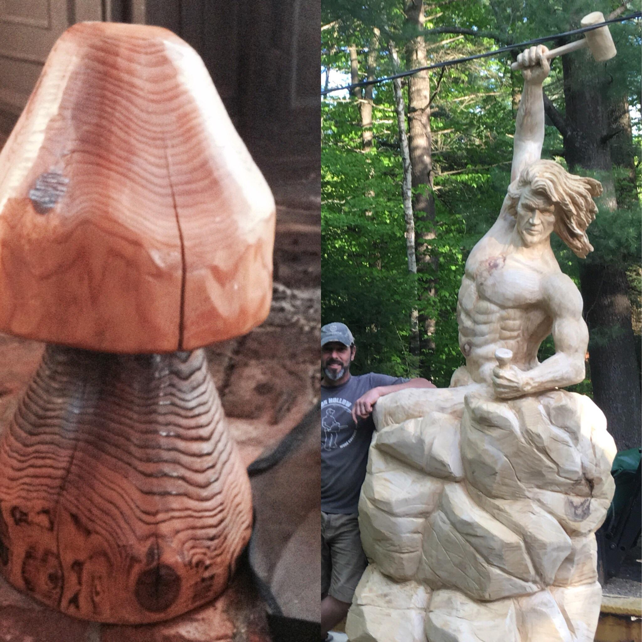 [image] Find Your Passion. Burnt out with corporate America, picked up a saw and carved a mushroom . 12 years later…