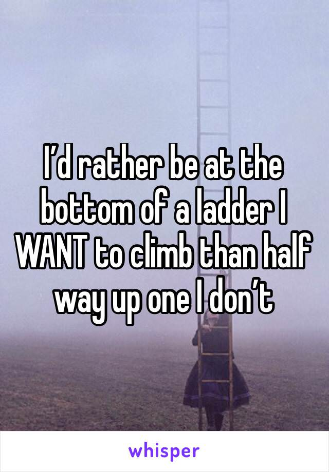 "[Image] ""I'd rather be at the bottom of a ladder I WANT to climb than half way up one I don't"""