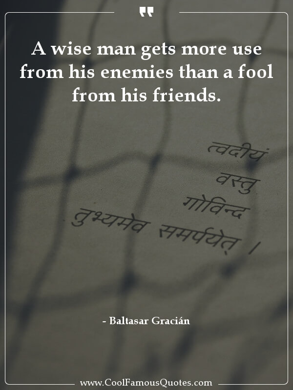"""A wise man gets more use from his enemies …"" – Baltasar Gracián [600×800]"