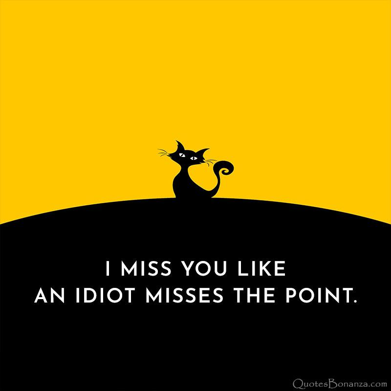 I MISS YOU LIKE AN IDIOT MISSES THE POINT. https://inspirational.ly
