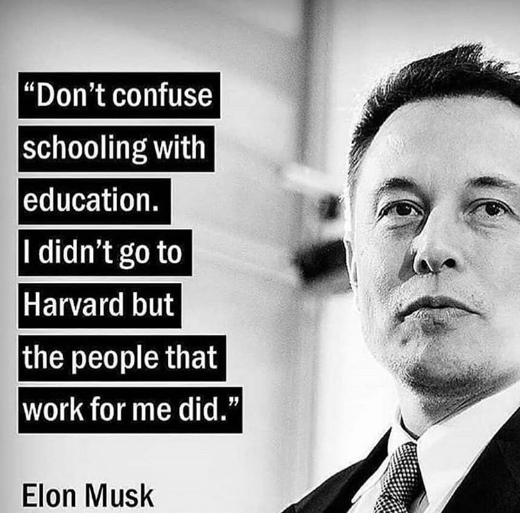 Dont confuse schooling with education. I didn't go to havard but people that work for me did. – Elon Musk ( 750 × 740 )