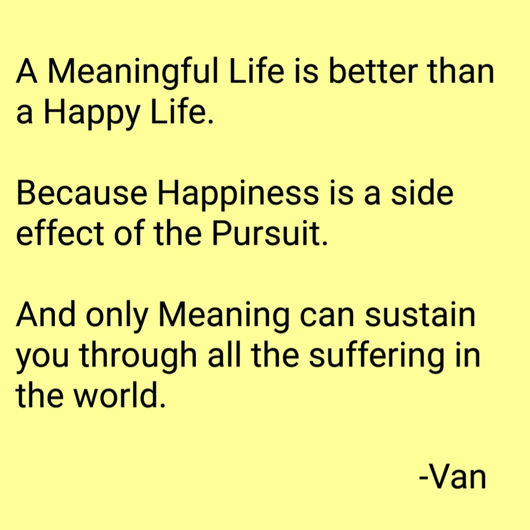 [Image] A Meaningful Life is better than a Happy Life.