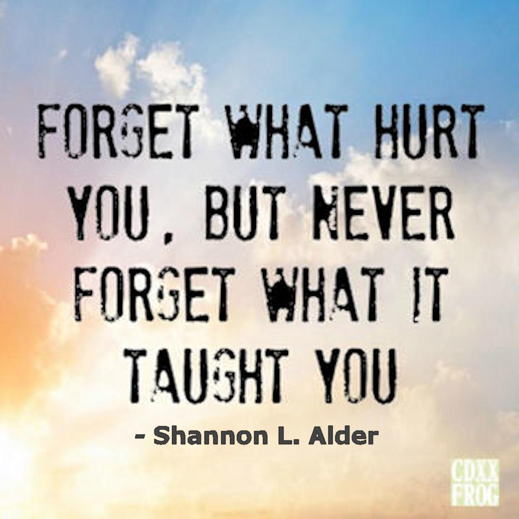 Forget what hurt you, but never forget what it taught you… ~ Shannon L. Alder [1056×1056]