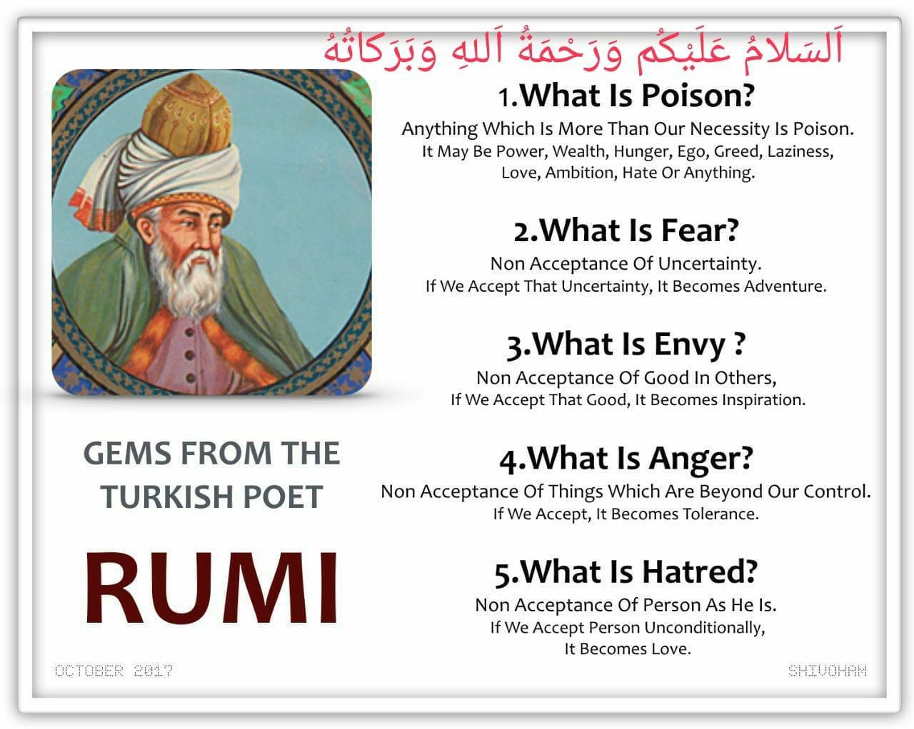 """What is poison, fear, envy, anger, hatred?"" – Rumi (1280×1022)"