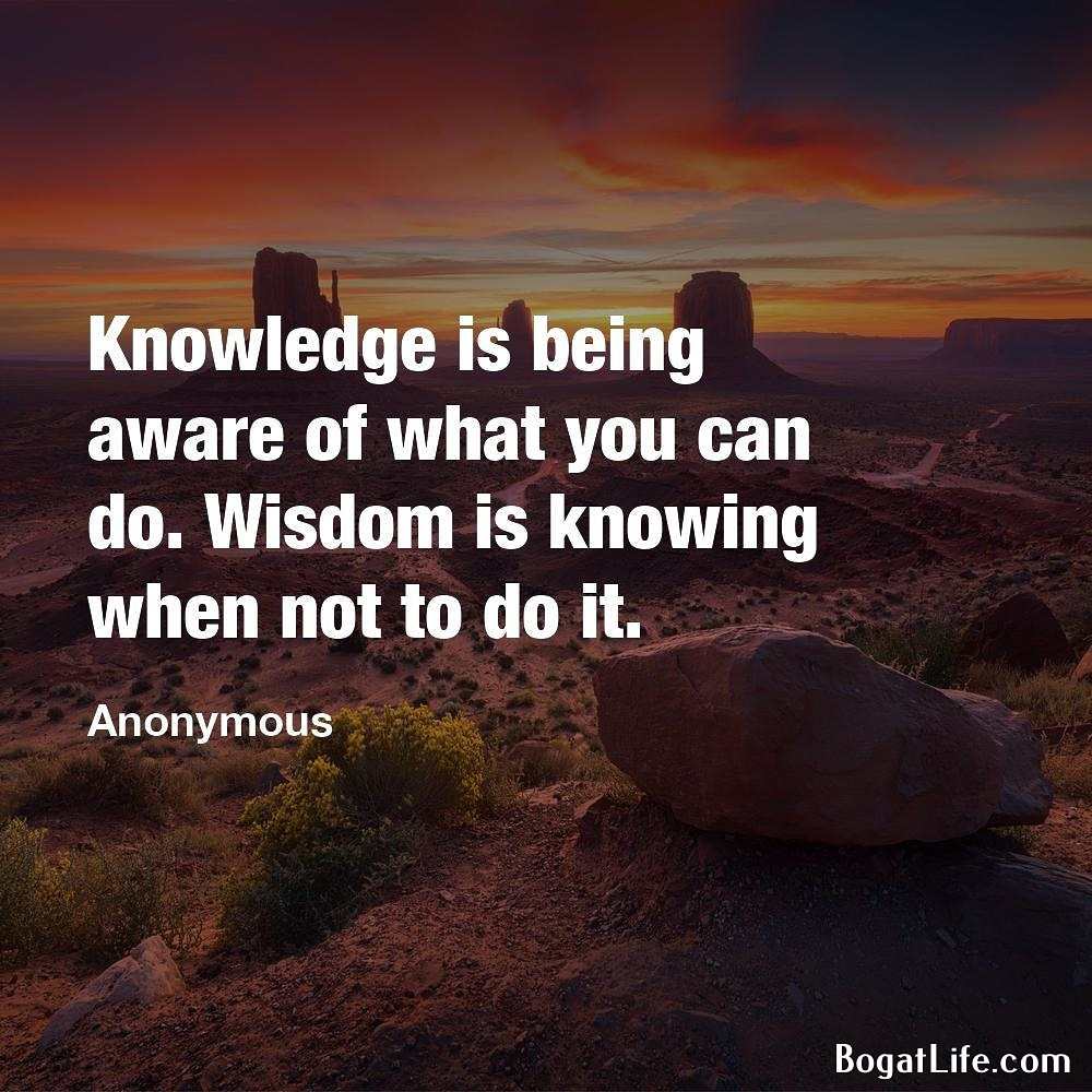 """… Wisdom is knowing when not to do it."" ~Anonymous [1000×1000]"