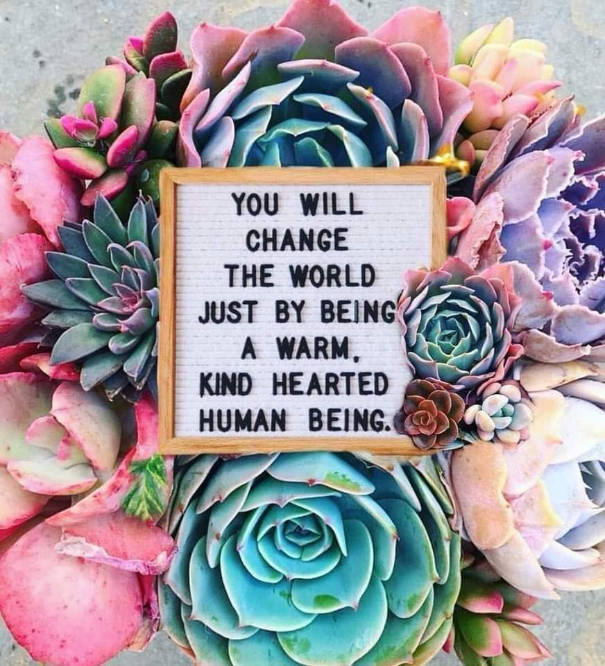 "[Image] ""You Will Change The World Just By Being A Warm, Kind Hearted Human Being"""