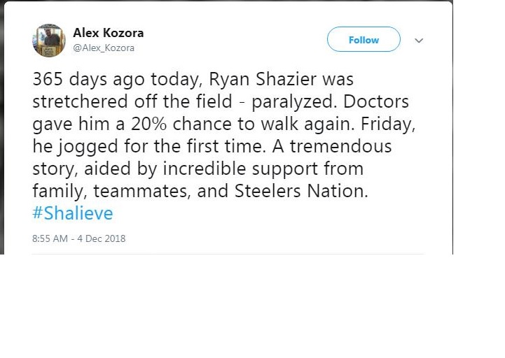 [Image] 365 days ago today, Ryan Shazier was stretchered off the field – paralyzed. Doctors gave him a 20% chance to walk again. Friday, he jogged for the first time.