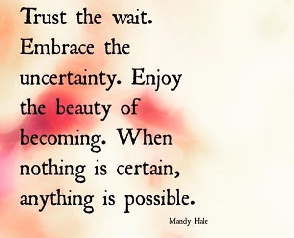 [Image] Trust the wait. Embrace the uncertainty. Enjoy the beauty of becoming. When nothing is certain, anything is possible!