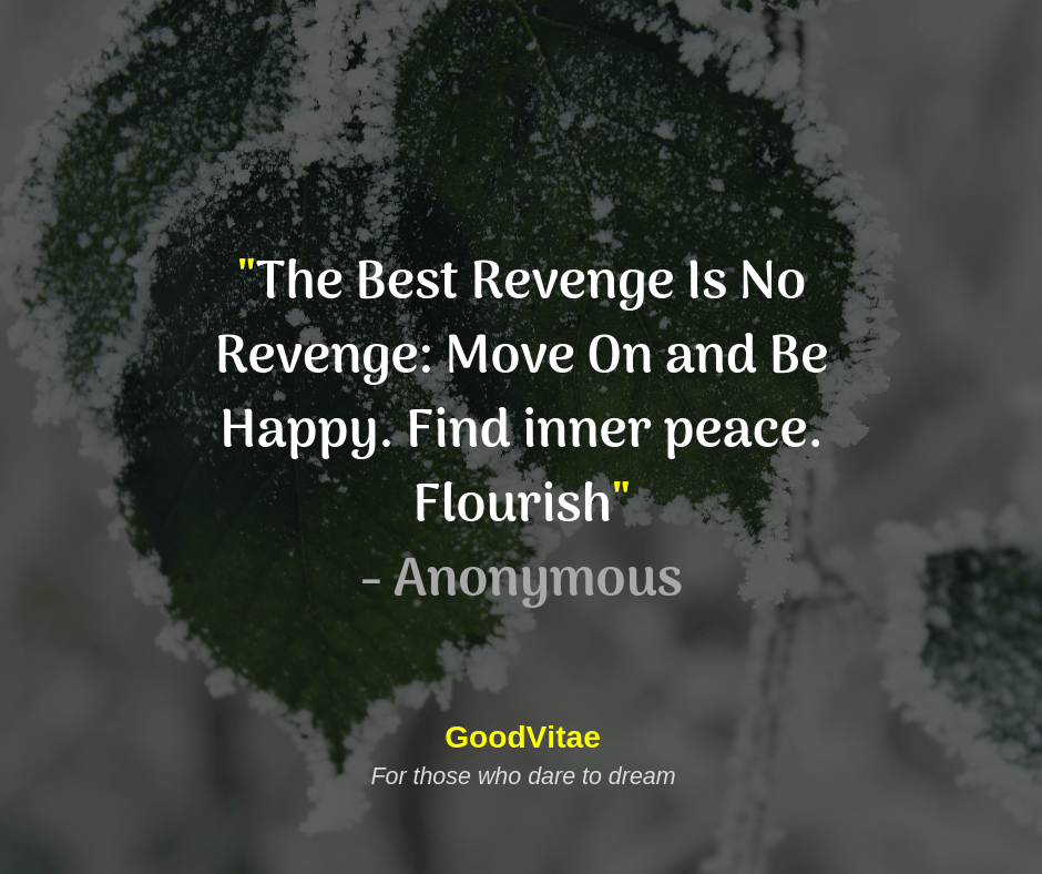 """The Best Revenge Is No Revenge: Move On and Be Happy. Find inner peace. Flourish"" — Anonymous GoodVitae For those who dare https://inspirational.ly"
