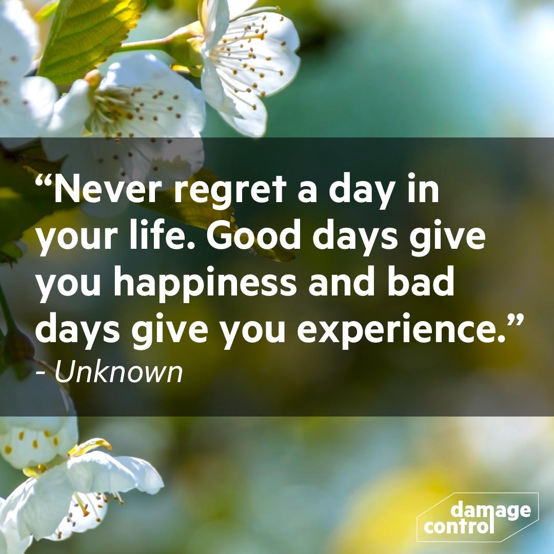 Never regret a day in your life. Good days give you happiness and bad days give you experience. ~Unknown [1080 x 1080]