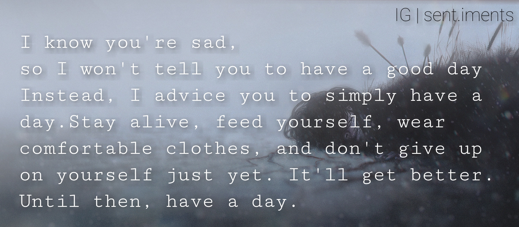 I know you're sad, so I won't tell you to have a good day. Instead……….by Unknown (1800X788)