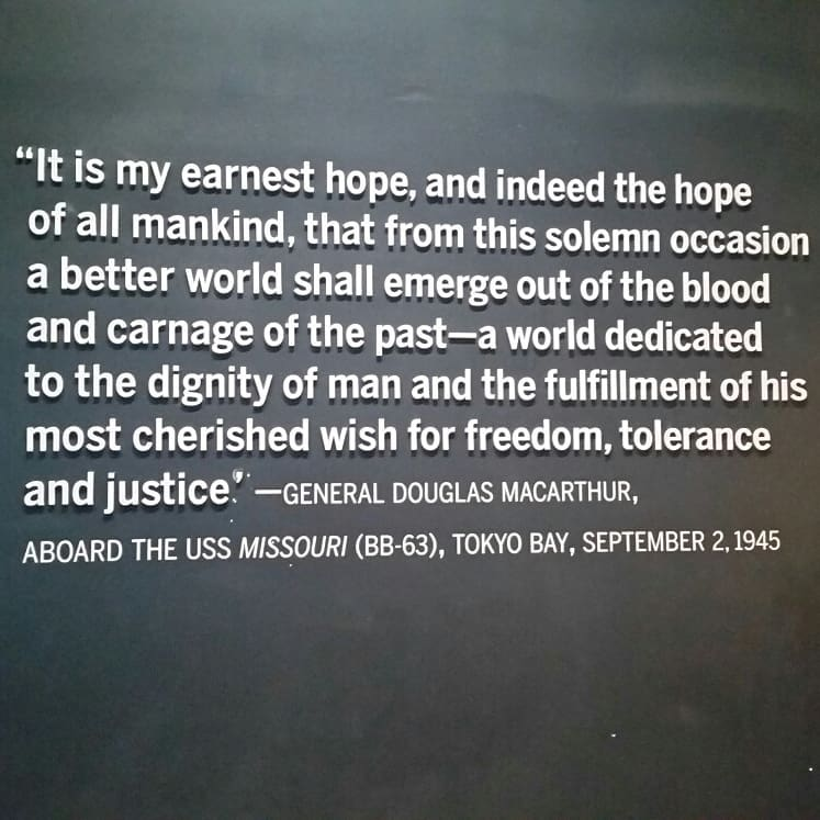 """It is my earnest hope, and indeed the hope of all mankind…"" -General Douglas MacArthur at the end of WWII [747×747]"