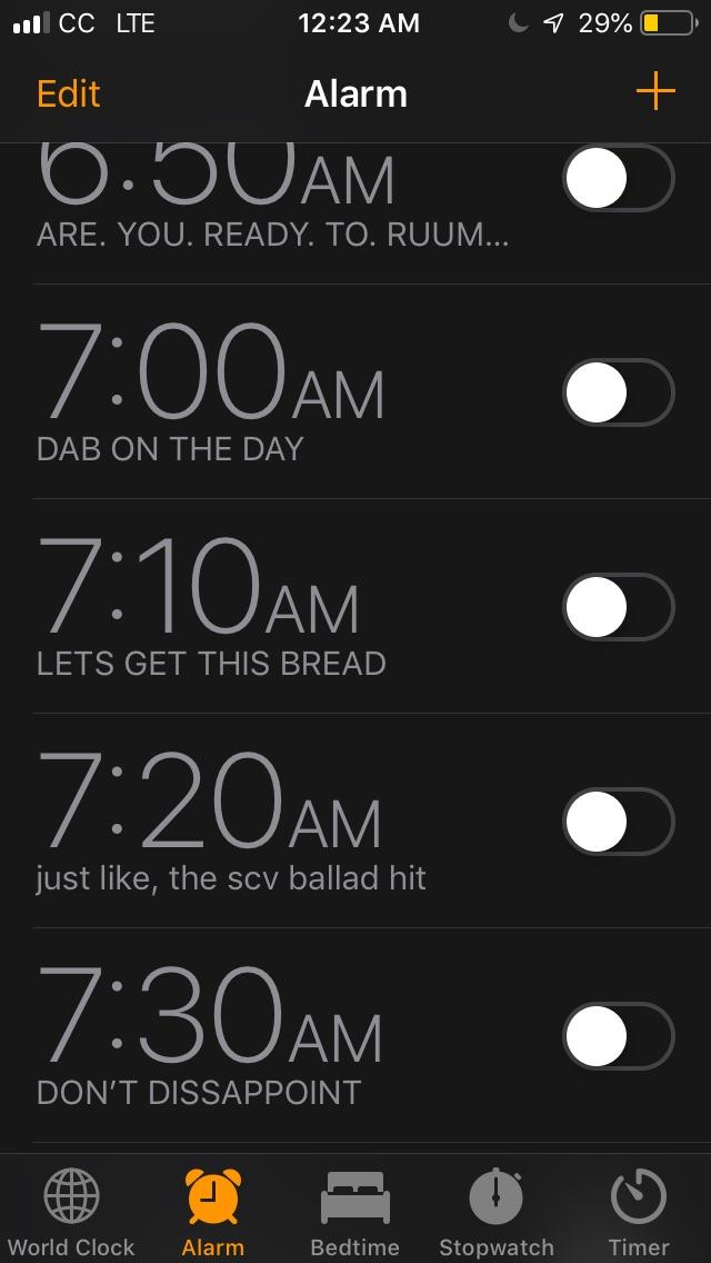 [Image] I named all of my alarms.