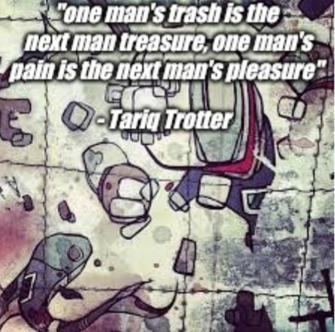 """One man's trash is the next man's treasure, one man's pain is the next man's pleasure"" – Tariq Trotter, in the song ""right now"" by Fort Minor [675 x 670]"