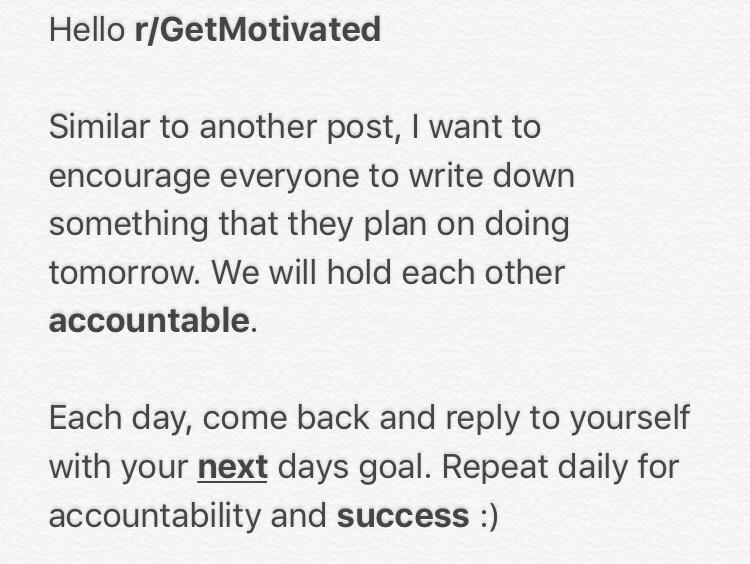[Image] Start your daily goal logs. We'll each keep each other accountable (: