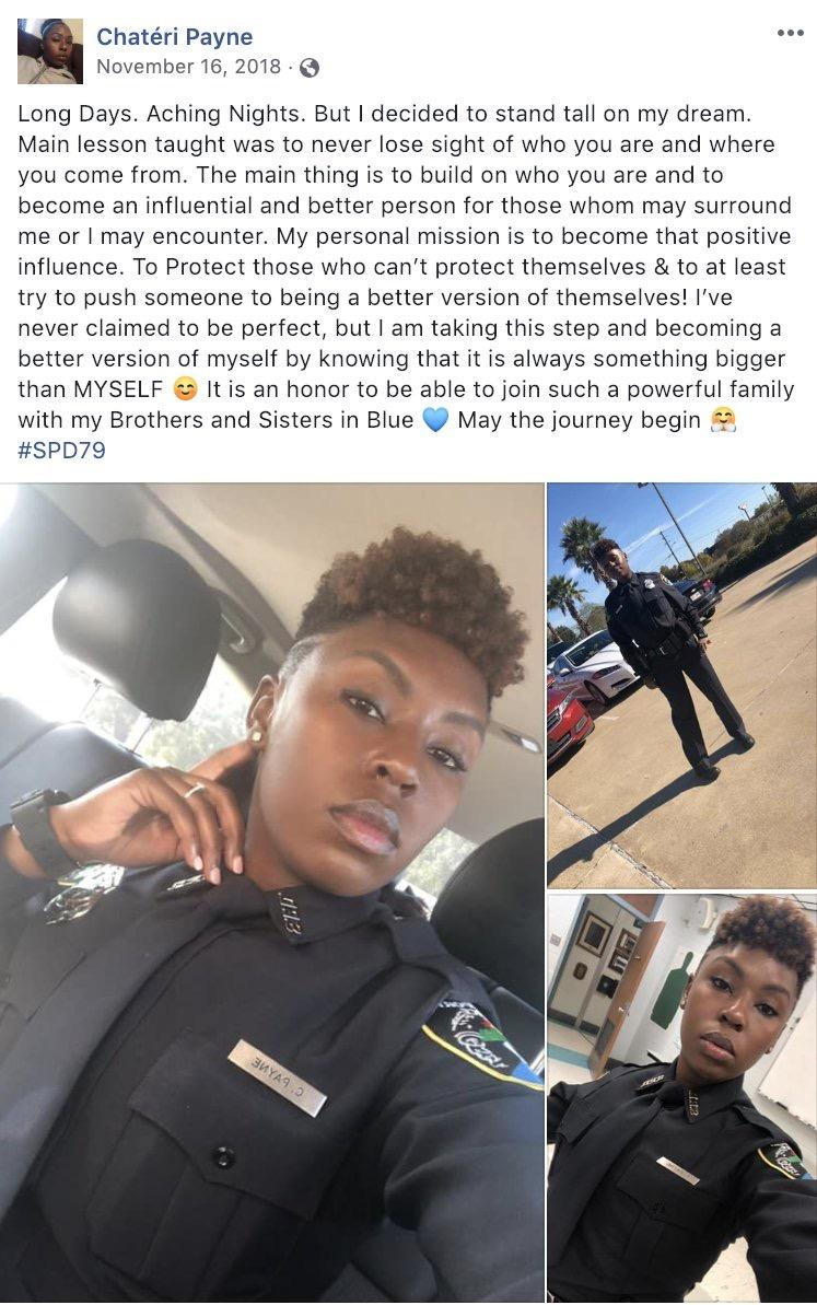 [Image] Louisiana rookie police officer Chateri Payne was shot and killed before starting her overnight shift yesterday. She shared this post a few months ago when she graduated from the academy. It's heartbreaking but also very motivating.