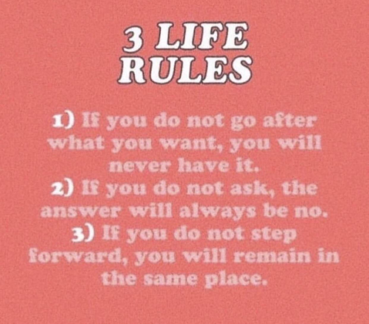 [Image] 3 Life Rules