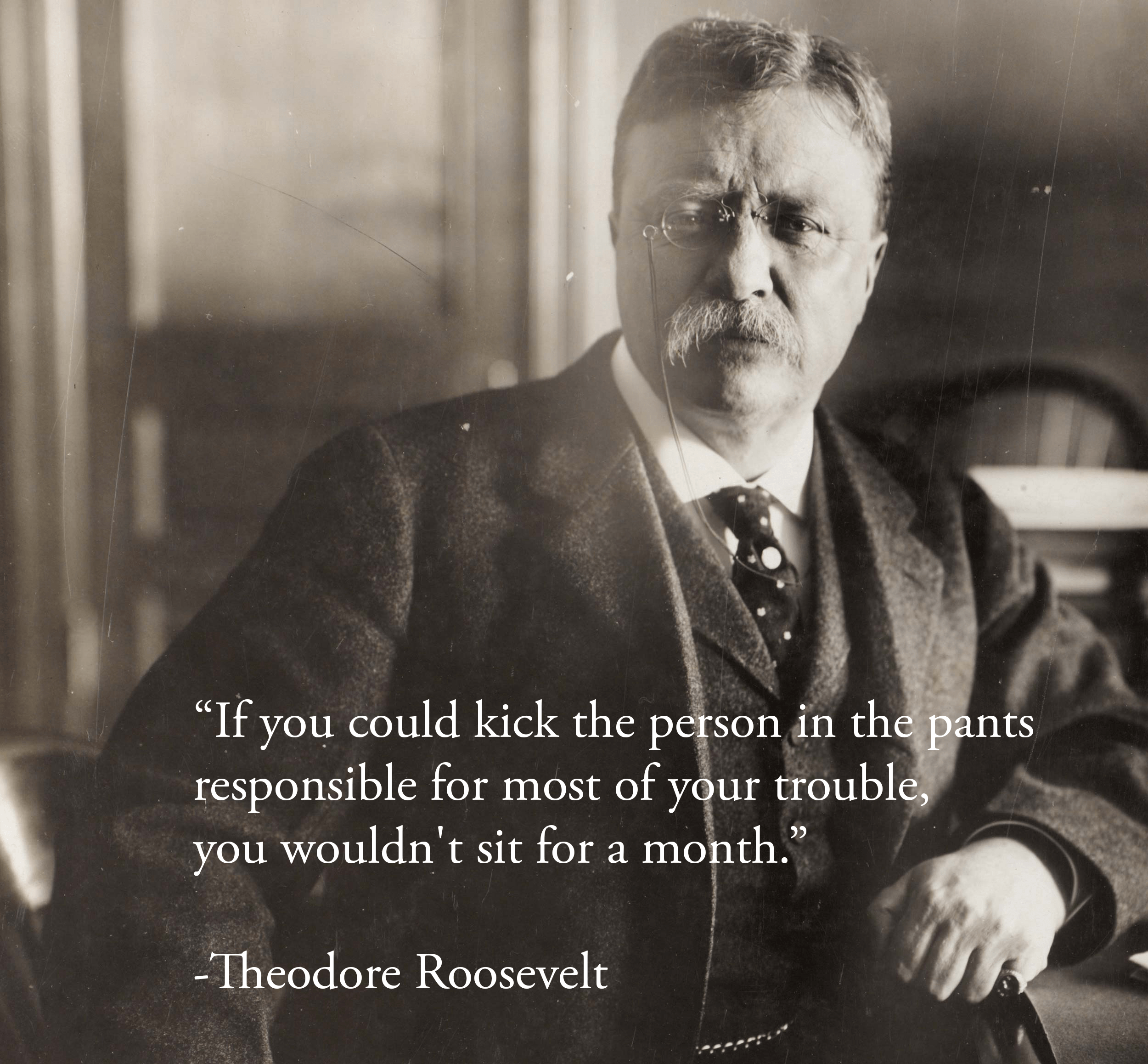 """If you could kick the person in the pants responsible for most of your trouble, you wouldn't sit for a month."" – Theodore Roosevelt [OC] [2500×2316]"