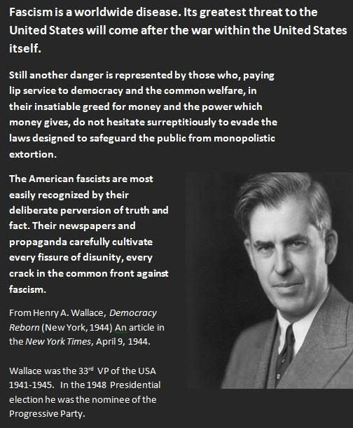 """Fascism is a worldwide disease……"" Henry A Wallace [504×611]"