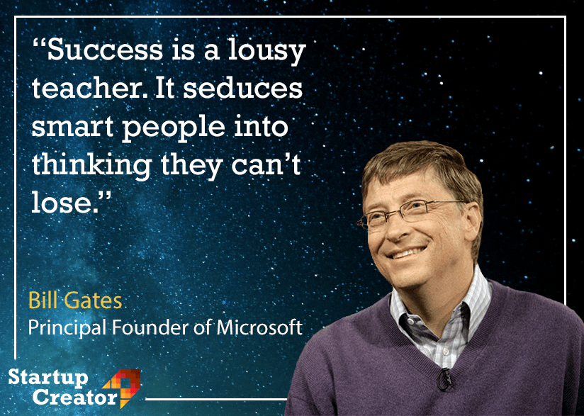 Success doesn't protect you from failing. Everyone can loose. And there is nothing wrong about that. What's important – is to get up afterwards! ✊ [824×587] #MotivationalQuotes #BillGates