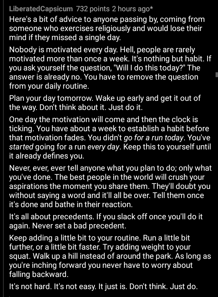 [Image] It's not hard. It's not easy. It just is. Don't think. Just do. – u/LiberatedCapsicum