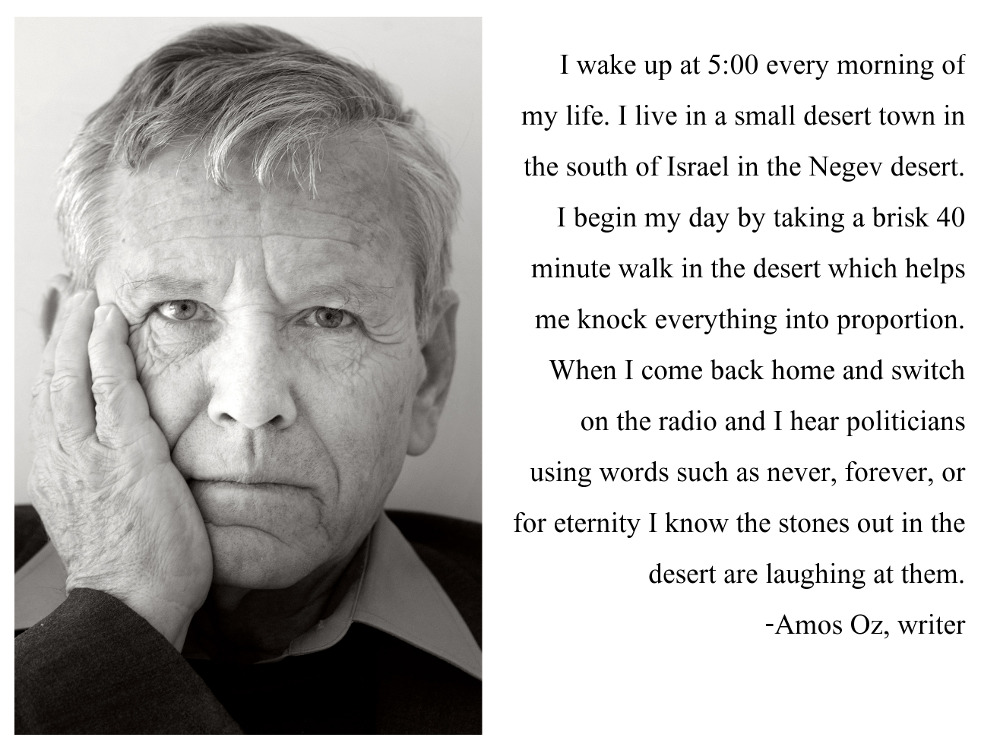 "Favorite quote by Amos Oz, who died last week. [OC] ""When I turn on the radio and hear a politician using words like 'never' or 'forever' or 'for eternity' I know that the stones out in the desert are laughing at him."" [1000 x 750]"