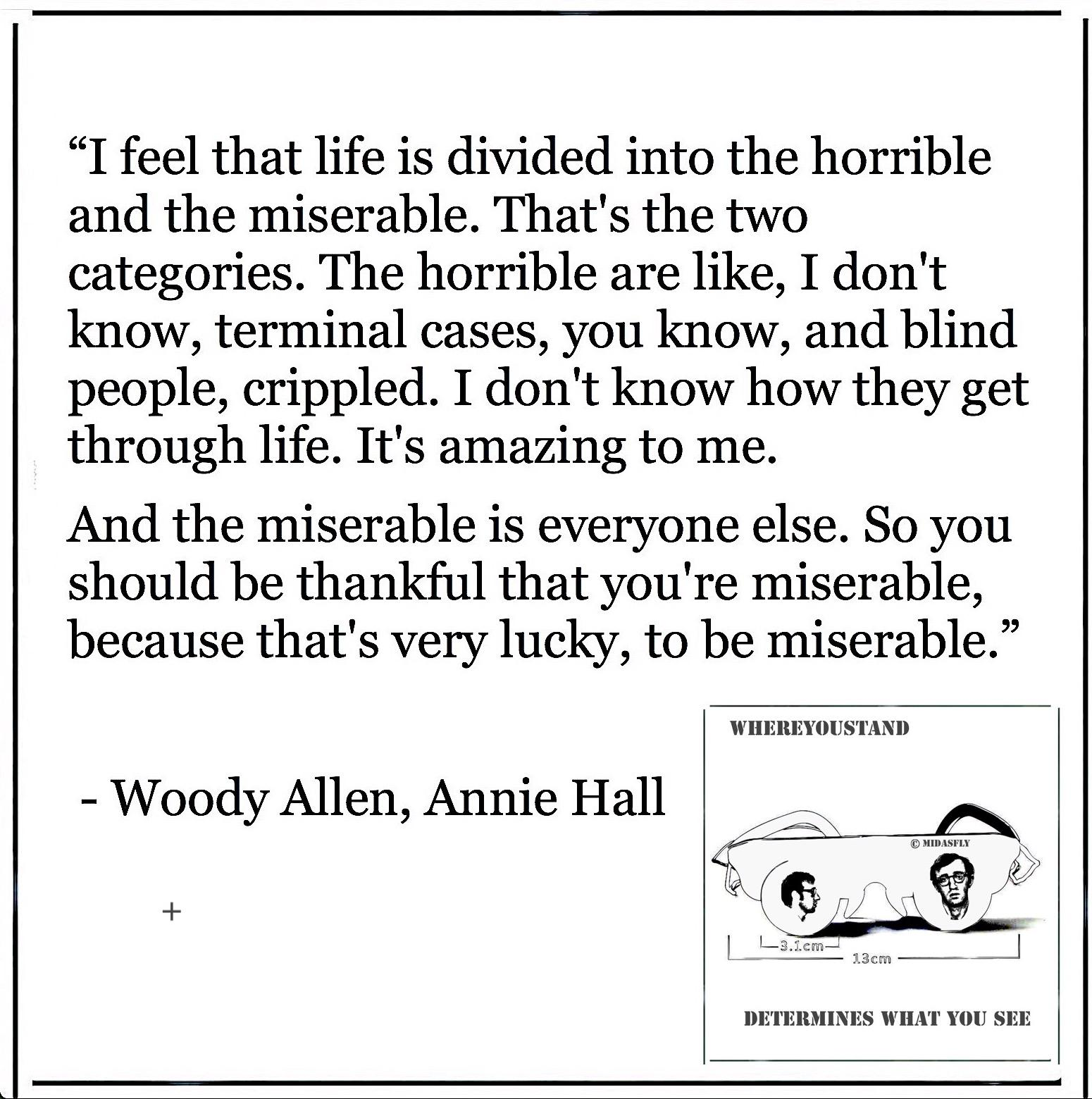 "Annie Hall: ""I feel that life is divided into the horrible and the miserable."" – Woody Allen [1550 × 1560]"