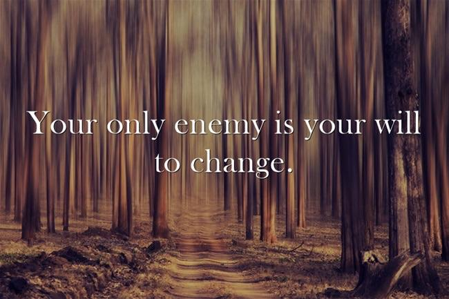 Your only enemy is your will to Change. https://inspirational.ly
