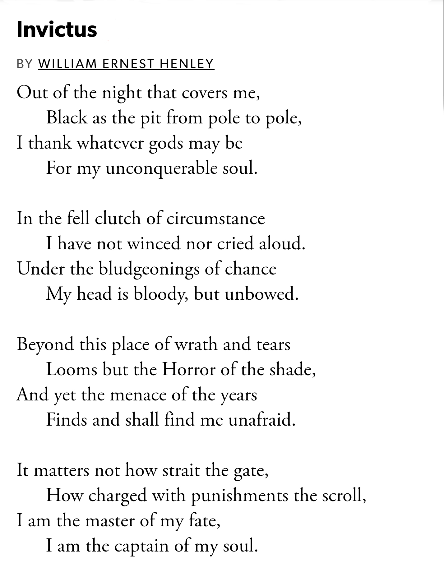 [Image] Invictus by William Henley – My favorite poem, and source of motivation. I felt it needed to be shared!