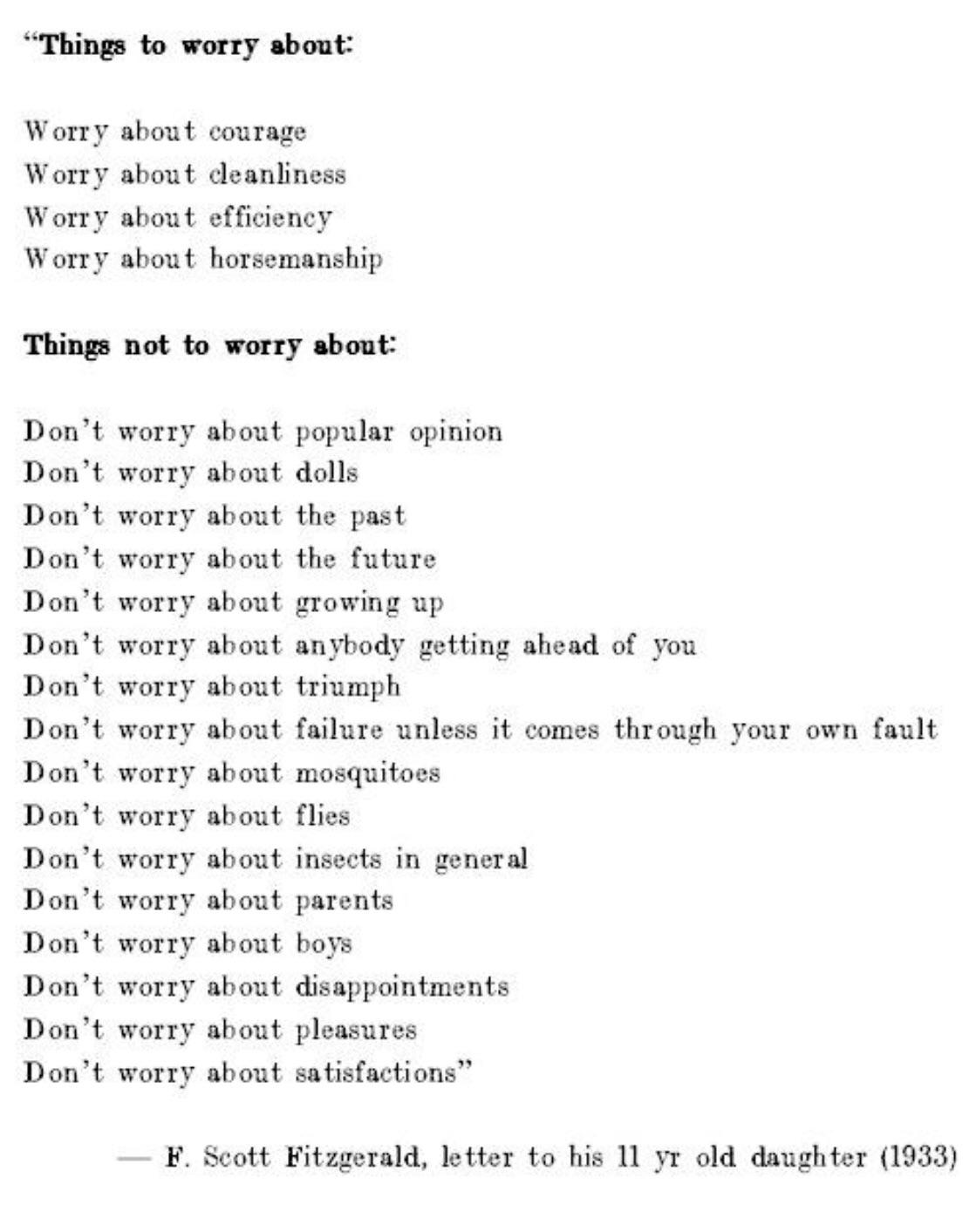 "[image] ""Things to Worry About"" – a letter from F. Scott Fitzgerald to his son"