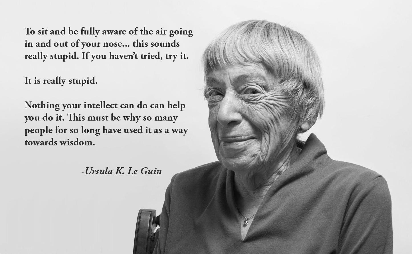 """To sit and be fully aware of the air going in and out of your nose… this sounds really stupid. . . It is really stupid. Nothing your intellect can do can help you do it. This must be why so many people for so long have used it as a way towards wisdom."" – Ursula K. Le Guin [1444×891]"