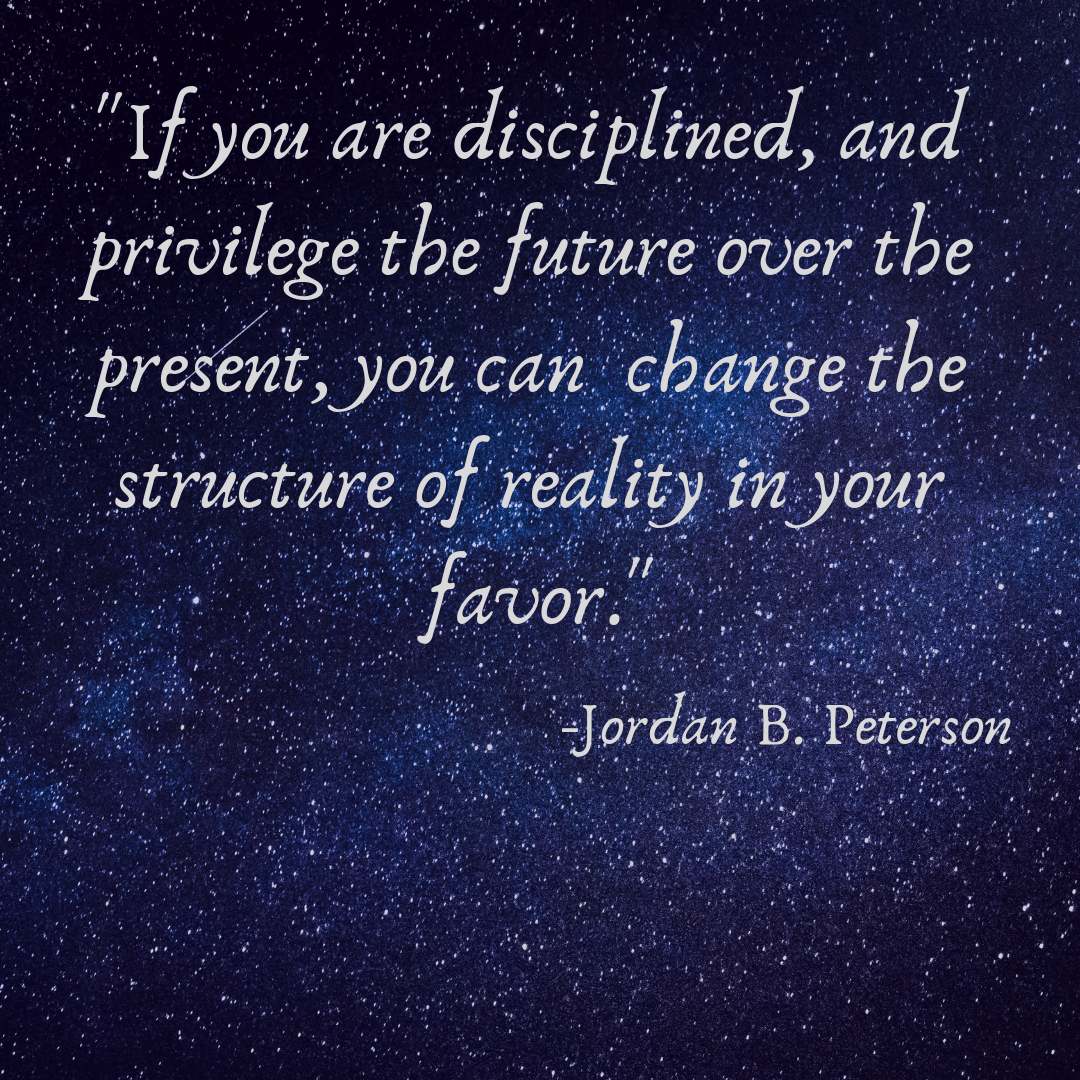 """If you are disciplined, and privilege the future over the present, you can change the structure of reality in your favor"" (1080×1080)"