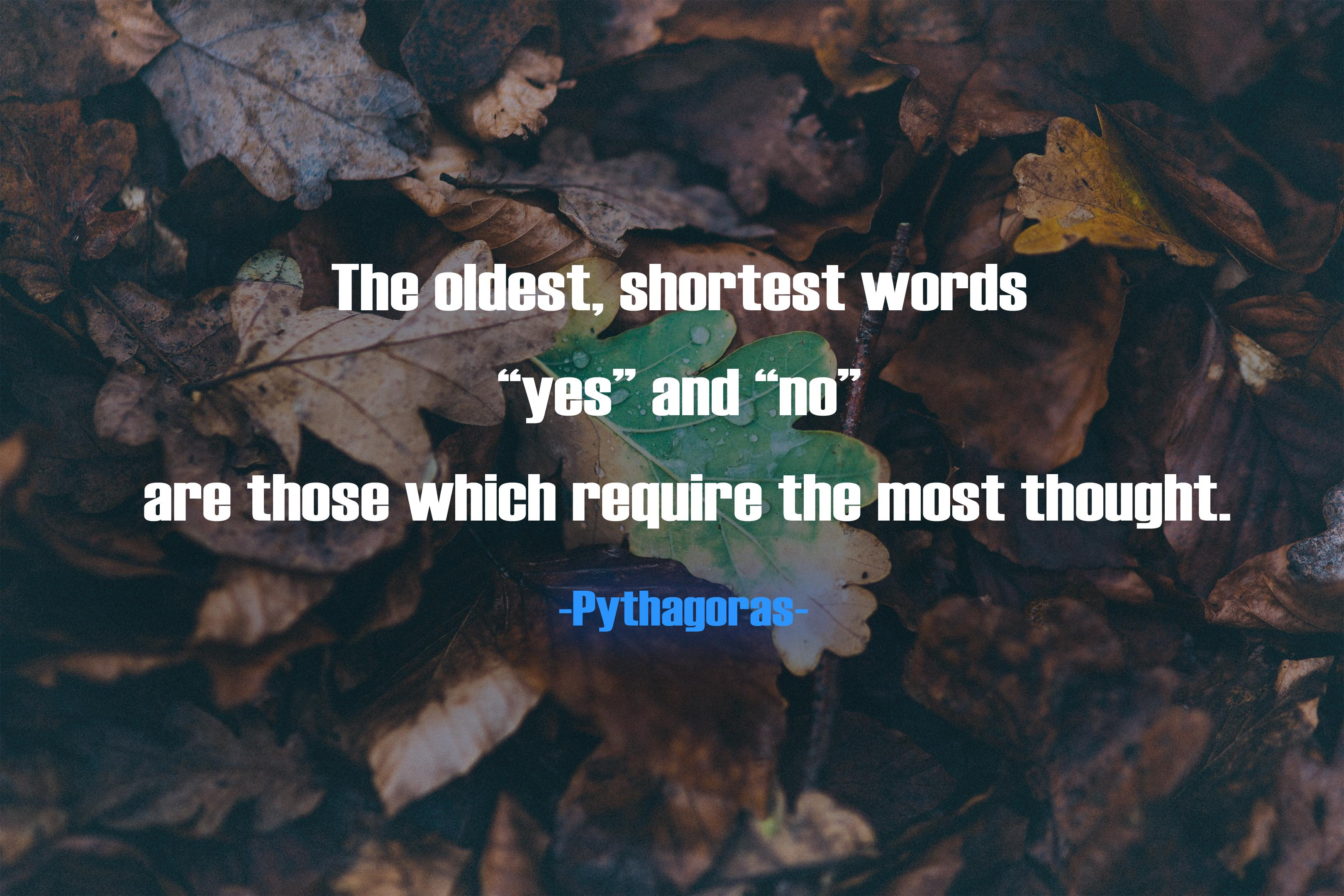 """The oldest, shortest words ""yes"" and ""no"" are those which require the most thought"". -Pythagoras [3239×2160]"