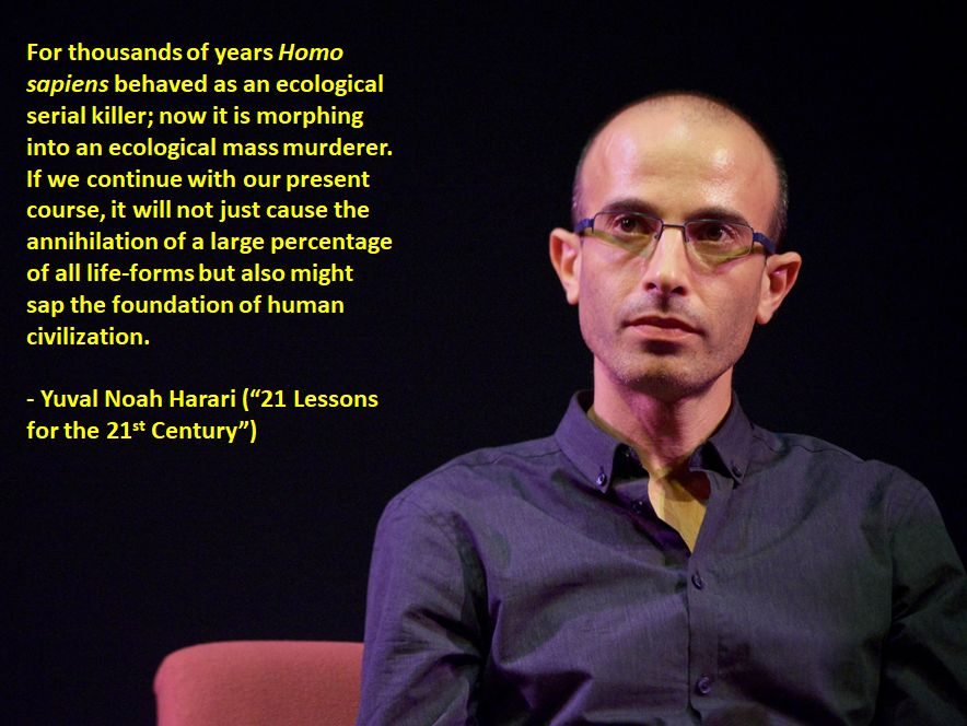 """For thousands of years Homo sapiens behaved as an ecological serial killer…"" – Yuval Noah Harari [884×664]"