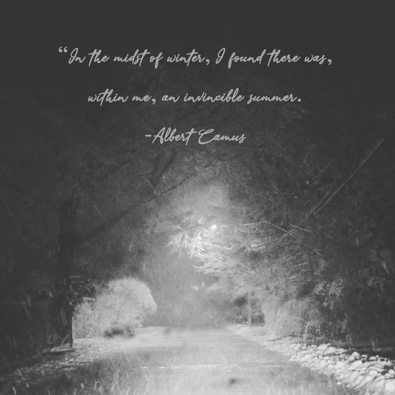 """In the midst of winter…"" – Albert Camus [800×800]"