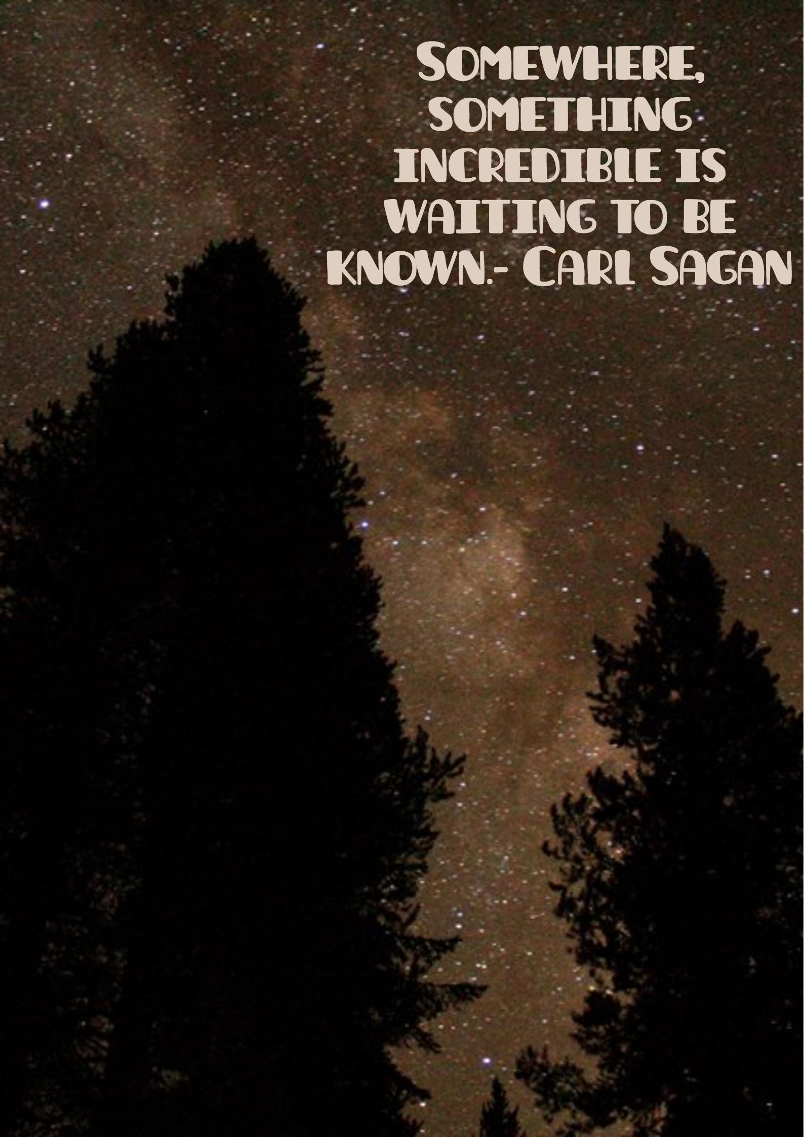 """Somewhere, something incredible is waiting to be known."" – Carl Sagan[1600×2200]"