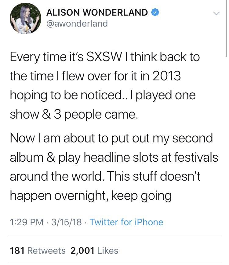 [Image] This Alison Wonderland tweet is hella inspiring.