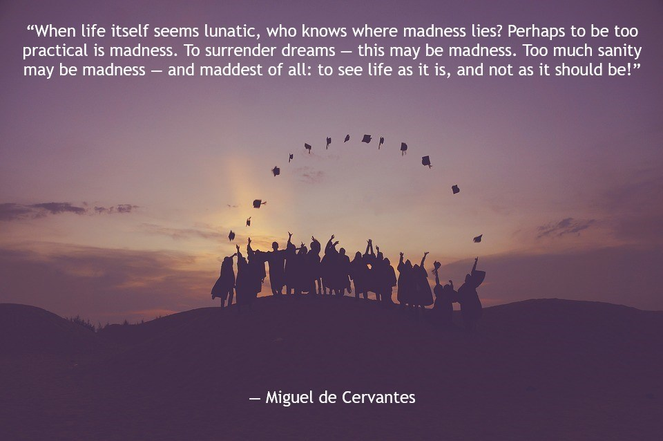 """When life itself seems lunatic, who knows where madness lies? Perhaps to be too practical is madness. To surrender dreams — this may be madness. Too much sanity may be madness — and maddest of all: to see life as it is, and not as it should be!"" ― Miguel de Cervantes [960 x 638]"
