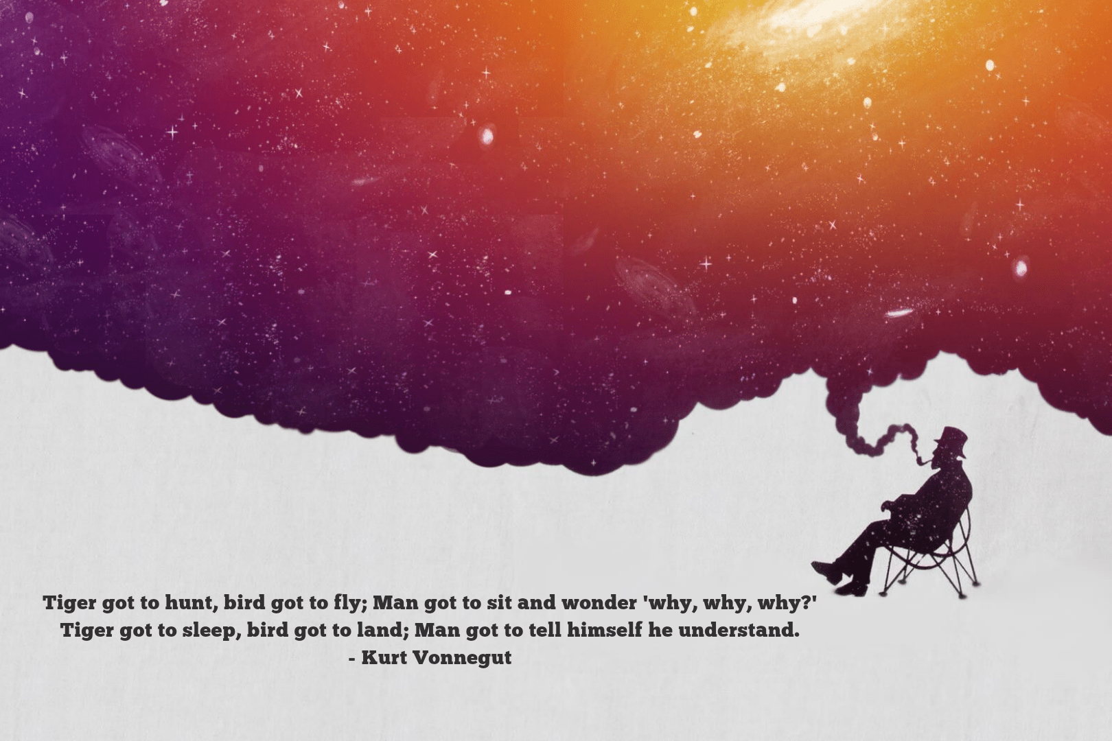 """Tiger gotta hunt, bird got to fly…"" – Kurt Vonnegut [1620×1080]"