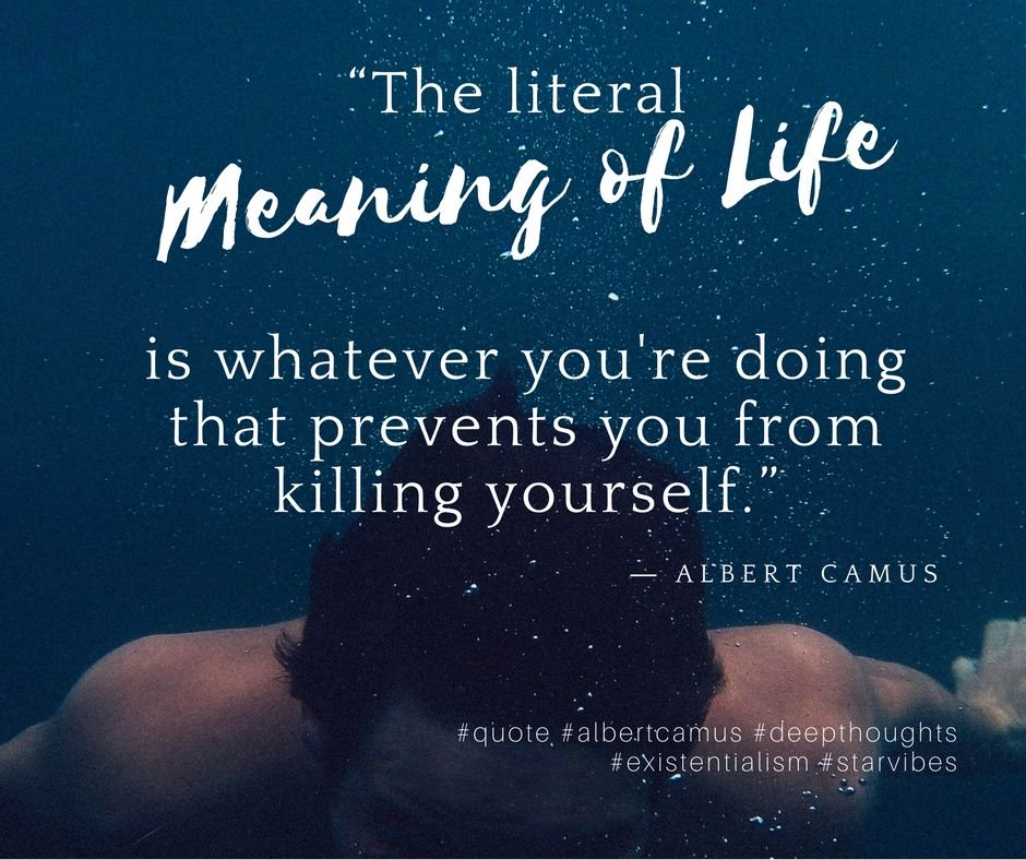 """Thr literal meaning of life is whatever your doing that prevents you from killing yourself"" – Albert Camus [940×788]"