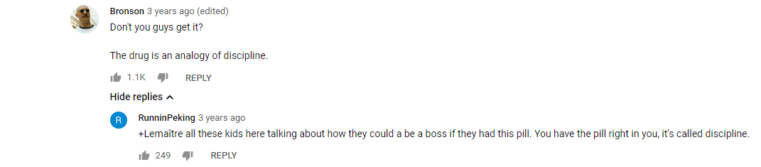 [Image]Comments under a video about the movie 'Limitless'.
